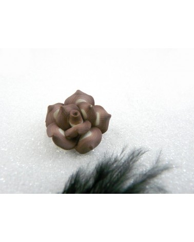Rose Fimo 20mm Marron et Beige X 1