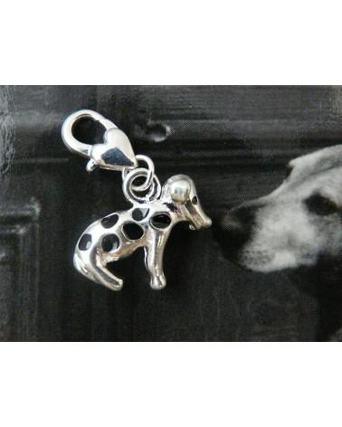 Breloque chien Dalmatien à mousqueton  x1