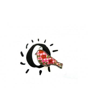 Breloque, charm, OISEAU à rose rouge x 1