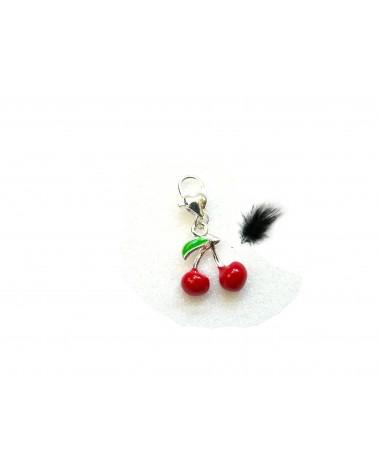 Breloque cerises sur mousqueton- Rouge x1
