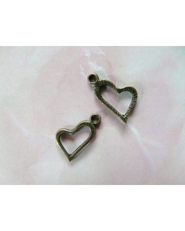 Breloque Coeur 19mm bronze x1