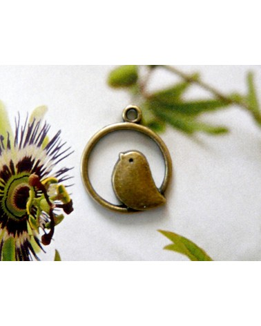 Breloque Oiseau 21mm bronze x1