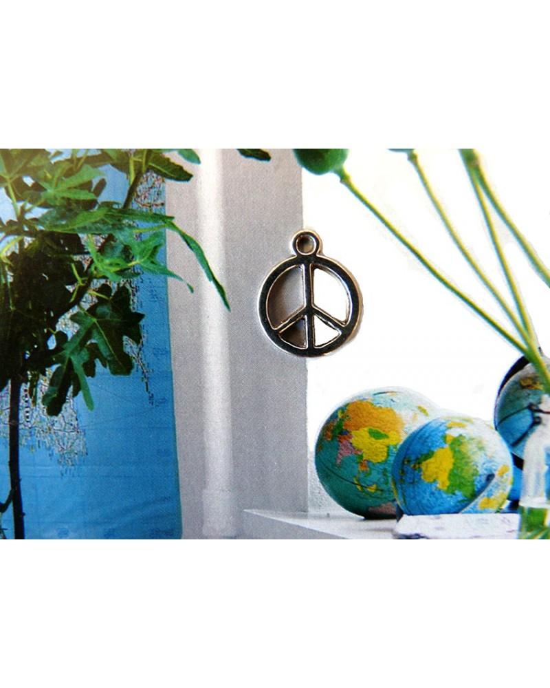 Breloque Peace 15mm argenté  x 1