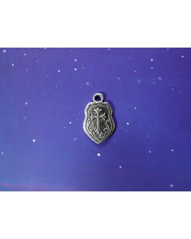 Breloque, charm, Bouclier chevalier 24mm argenté vieilli   x 1