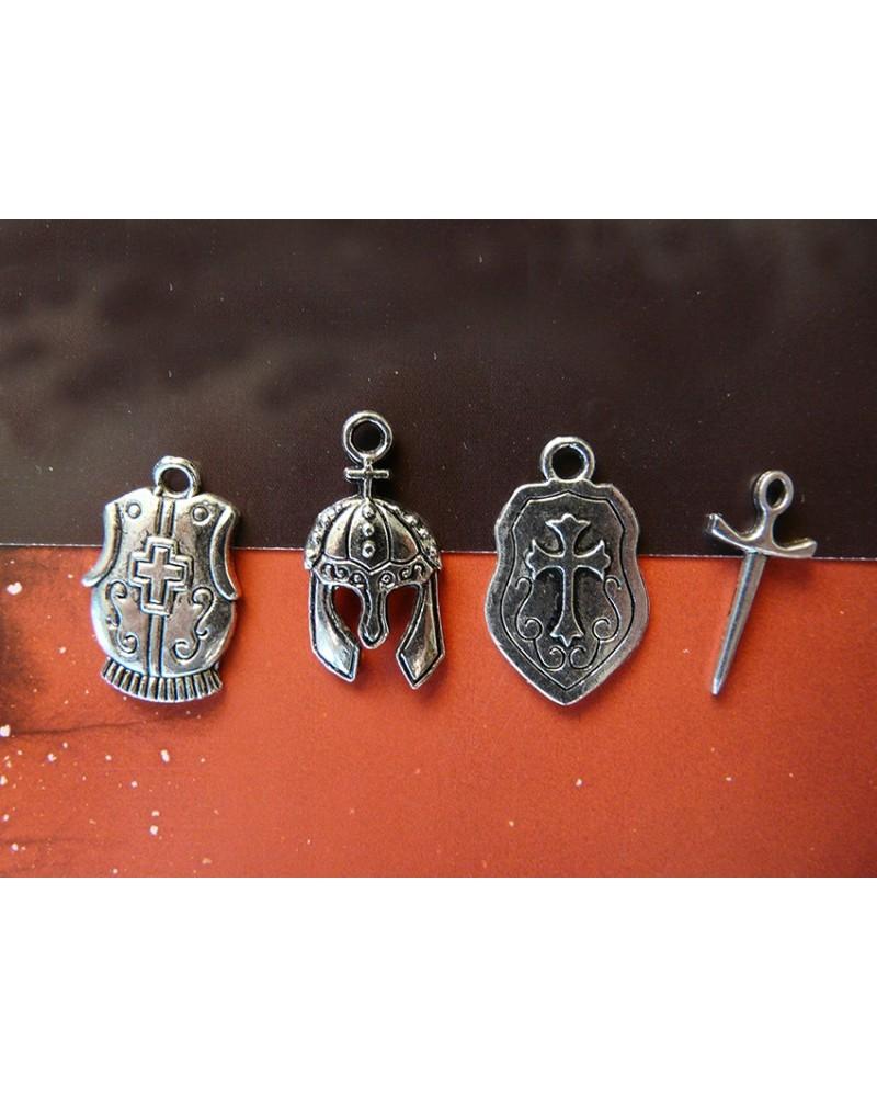 4 breloques, charm, lot Chevalier x 1