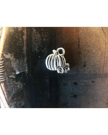 Breloque Citrouille 10mm argenté vieilli x1