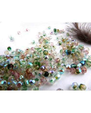 Facettes  4mm crystal multi mix AB x 50