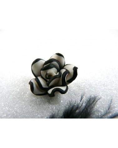 Rose Fimo 20mm Blanc et Noir X 1