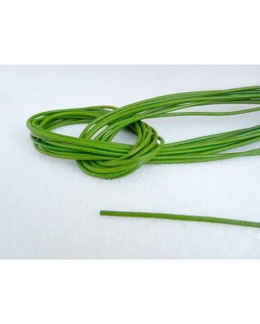 Cordon- cuir-Vert-prairie-2mm X 105 cm