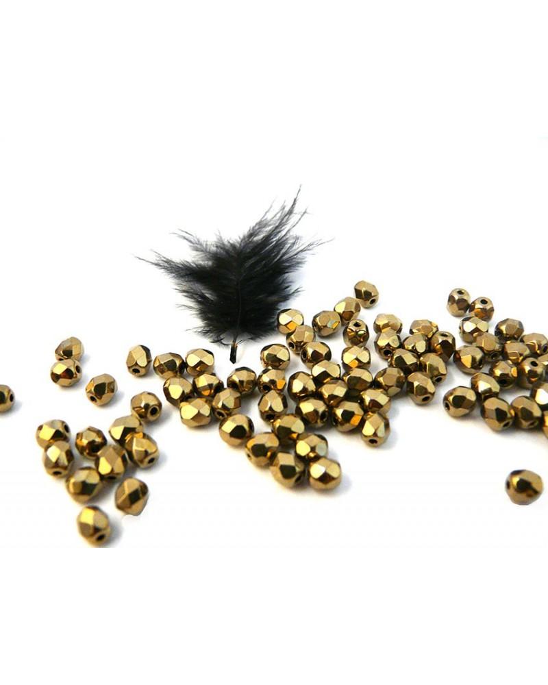Facettes de Bohême 4mm Gold Bronze X 50