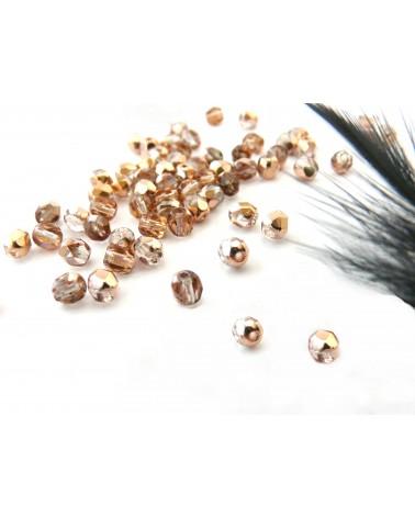 Facettes 4mm rosaline capri gold x 50