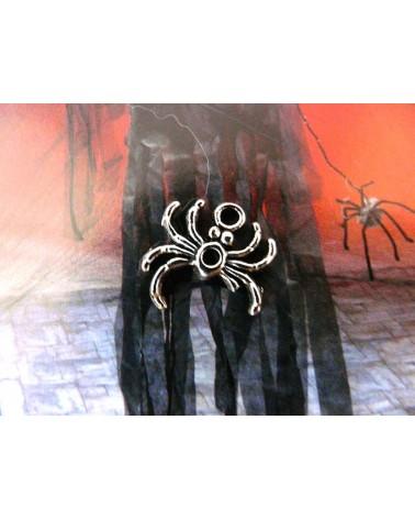 Breloque araignée 17mm argenté vieilli x1