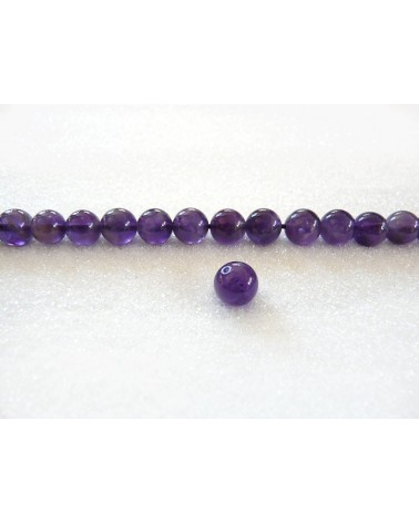 Amethyste 8mm lisse grade AAA violet moyen par 10