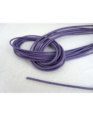 Cordon cuir Violet clair 2mm x 105 cm x1