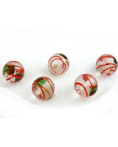 Perle en verre 14mm translucide zébrée rouge x 1 ou 10