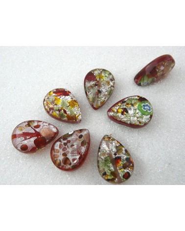 Larme MILLEFIORI 18 x 13 mm coeur rouge X 5