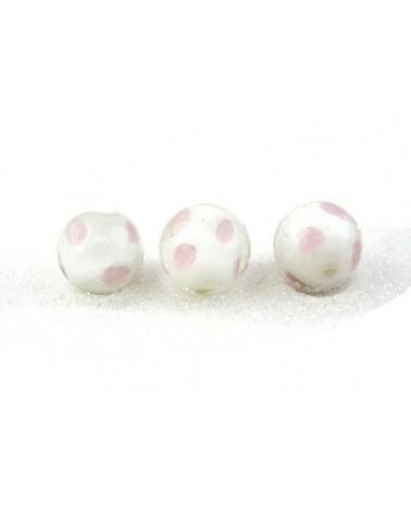 Perle en verre 16mm blanc et rose à pois X1