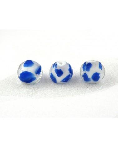 Perle en verre 16mm blanc et bleu à pois X 1