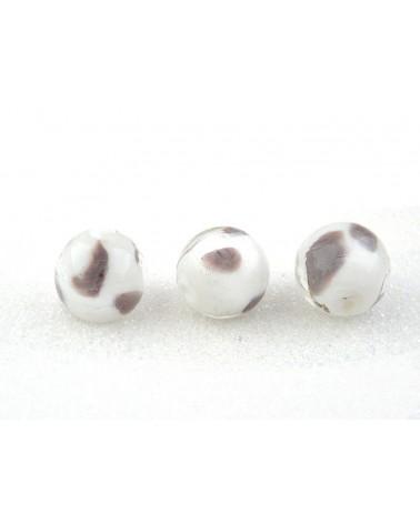 Perle en verre 16mm blanc et prune à pois X 1
