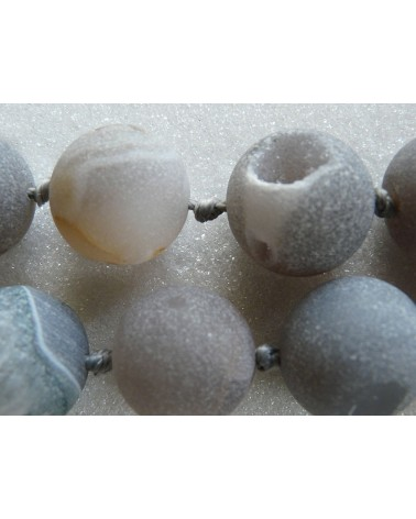 Perle géode 18mm d'agate dépolie -Gris-beige X 1