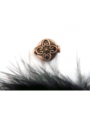 Perle plate décorée 12.5mm cuivre X 1