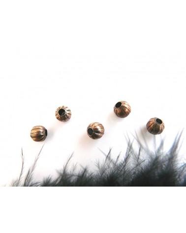 Boule creuse striée 6mm cuivre X 10