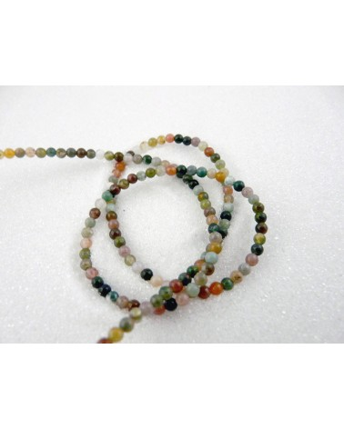 Agate indienne 3mm multicolore X 1rang