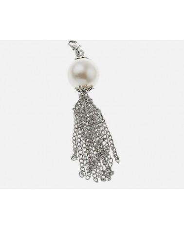 Pompon mousqueton et perle acrylique 16mm X1