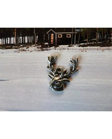 Breloque tête de renne- cerf argenté vieilli x1