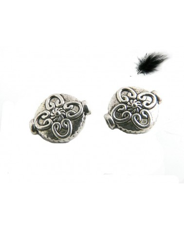 Perle plate décorée 12.5mm Argenté vieilli X 1