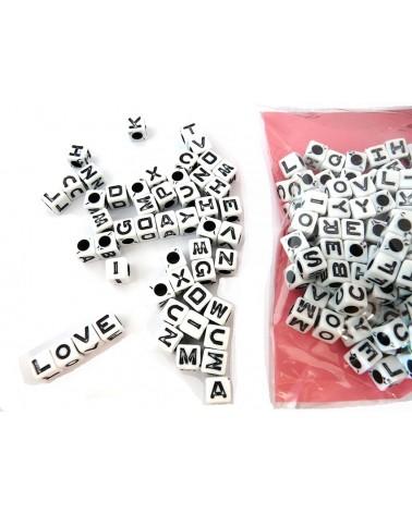 Mélange perles alphabet Blanc 50g