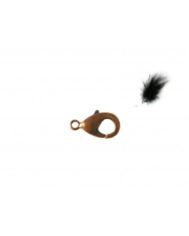 Fermoir mousqueton laiton 15mm cuivre X1