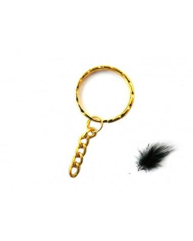 Porte clef métal  anneau 28mm doré X 1