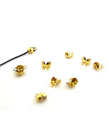 Cache-noeud ou Embout boule 3mm pour chaîne à billes 1.6 à 2.5m doré X10