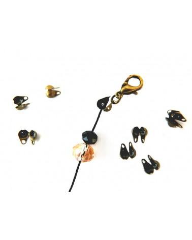 Cache-noeud ou Embout boule 3mm pour chaîne à billes 1.6 à 2.5mm bronze X10
