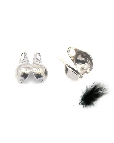 Cache-noeud ou Embout boule 3mm pour chaîne à billes 1.6 à 2.5mm argenté X10