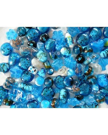 Perles en verre mélangées MIX n°1 x 100 gr (environ 13-15 perles) BLEU