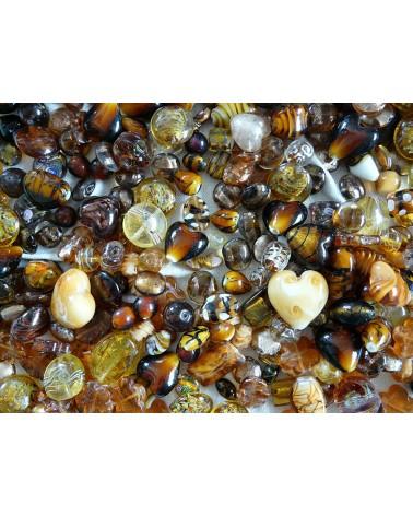 Perles en verre mélangées MIX n°2 X 100 gr (environ 13-15 perles) MARRON