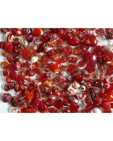 Perles en verre mélangées MIX n°5 X 100 gr (environ 13-15 perles) ROUGE