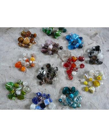 Perles en verre mélangées MIX n°7 X 100 gr (environ 13-15 perles) MARINE
