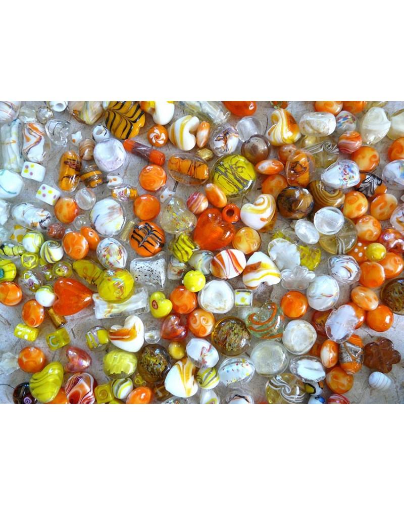 Perles en verre mélangées MIX n°8 X 100 gr (environ 13-15 perles) ORANGE JAUNE