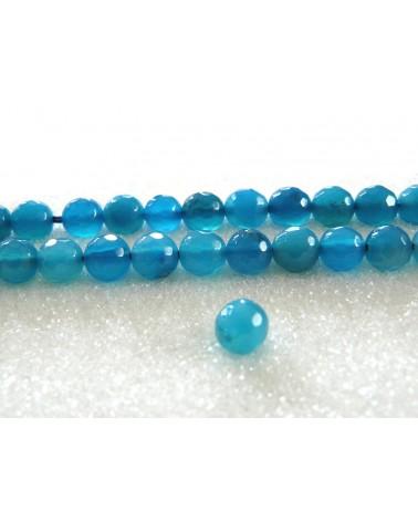 Agate bleu turquoise 6mm facettée par 15