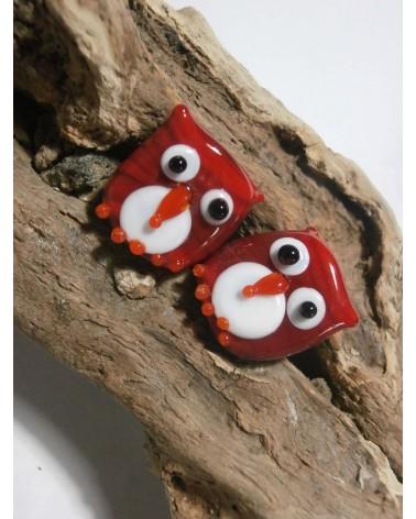 Céline WOJCIK: Perles Chouettes rouges 18 x 16mm par 2