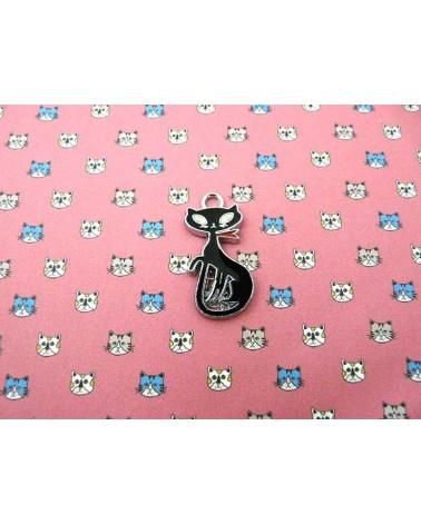Breloque chat noir /argenté X1