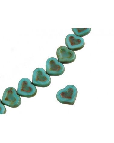 Coeur verre de Bohème 14x12mm turquoise vert-ocre X1