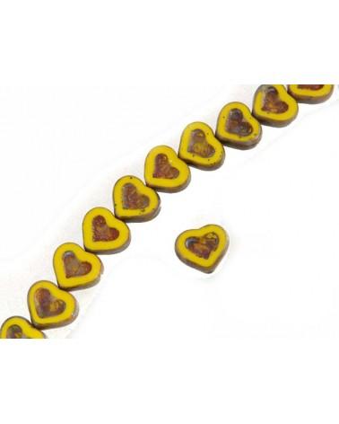 Coeur verre de Bohème 14x12mmt jaune-ocre X1
