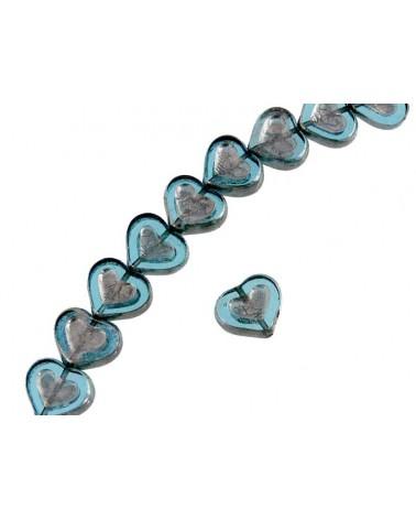 Coeur verre de Bohème crystal bleu-argent 14x12mm X1