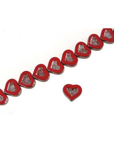 Coeur verre de Bohème rouge-argent 14x12mm X1