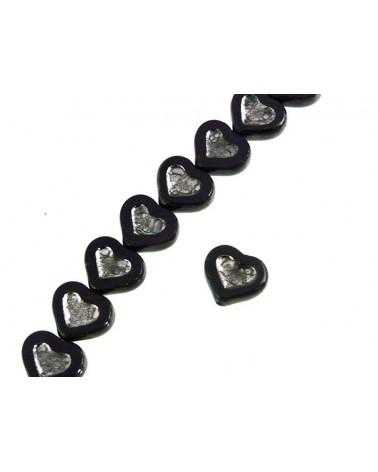 Coeur verre de Bohème noir-argent 14x12mm X1