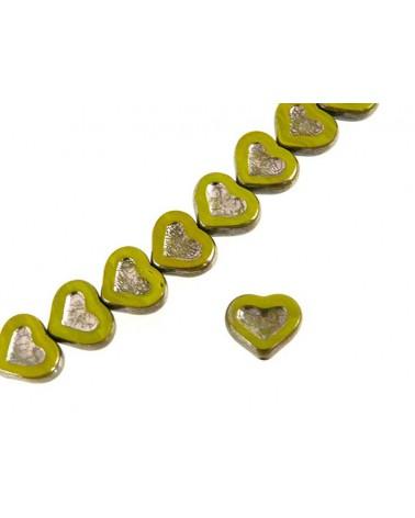Coeur verre de Bohème vert -argent 14x12mm X1